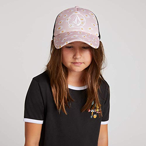 Volcom Womens Girls Hey Slims Adjustable Trucker Hat, mellow rose, One Size Fits All