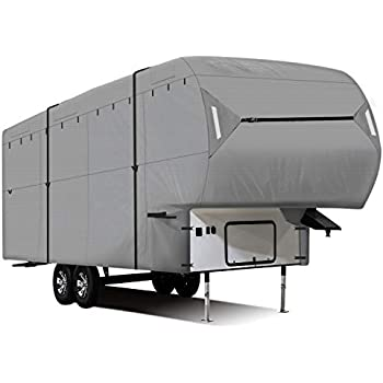 and Ramp Door Engine Side Storage Areas Waterproof Superior RV Motorhome Travel Trailer//Toy Hauler Cover Fits Length 30-33 Travel Trailer Camper Zippered Panels Allow Access To The Door