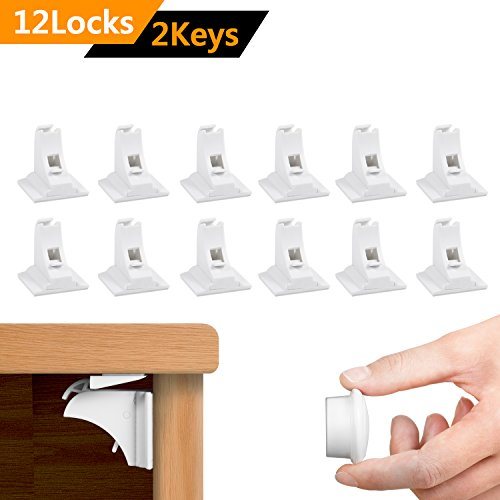 Toplus 12 Locks Magnetic Baby Safety Locks with 2 Magnetic Keys, for Cabinet Drawer ChildProof Safety Table Locks, Super-3M Adhesive--No Drilling or Screws Needed, Invisible Design, White Closed Cabinet Top