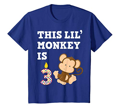 (Kids Monkey Birthday Shirt 3 Year Old Shirt 3rd BDay Gift Kids)