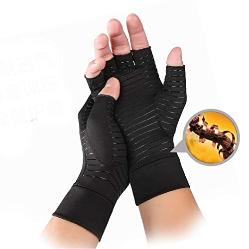 KIWI RATA Non-Slip Copper Arthritis Gloves Comfy Fit, Breathable & Moisture Wicking Fabric, Men & Women Open Finger Hand Compression Gloves for Joint Pain Symptom Relief, Ease Muscle Tension