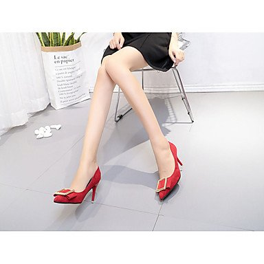 LvYuan-GGX Damen High Heels Heels Heels Pumps Wildleder Sommer Hochzeit Normal Kleid Party & Festivität Walking Pumps Metall Zehen StöckelabsatzSchwarz Gelb Rot, Ruby, us6   eu36   uk4   cn36 21caf0