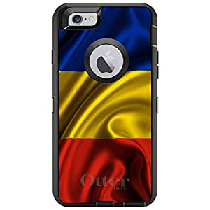 "CUSTOM Black OtterBox Defender Series Case for Apple iPhone 6 (4.7"" Model) - Romania Waving Flag"