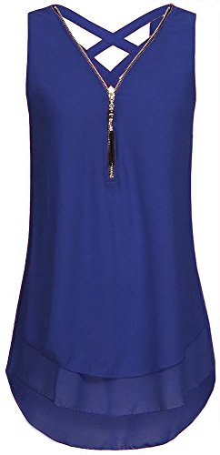 PinupArt Women's Double Layer Sleeveless Zipper Crisscross Chiffon Blouse S SapphireBlue (Solid Zippers Double Fashion)