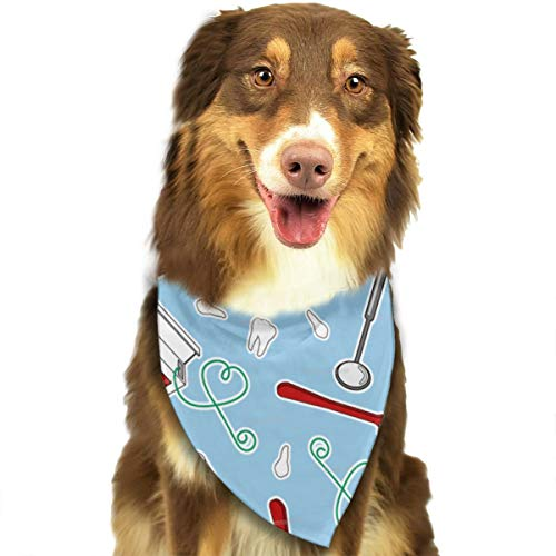 FRTSFLEE Dog Bandana Cute Dentist Dental Hygienist Print Blue Scarves Accessories Decoration for Pet Cats and Puppies]()