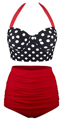 Swiland Women Vintage Swimsuits High Waisted Bikinis Bathing Suits Retro Halter Underwired Top, US 12-14=Tag Size 3XL, Black