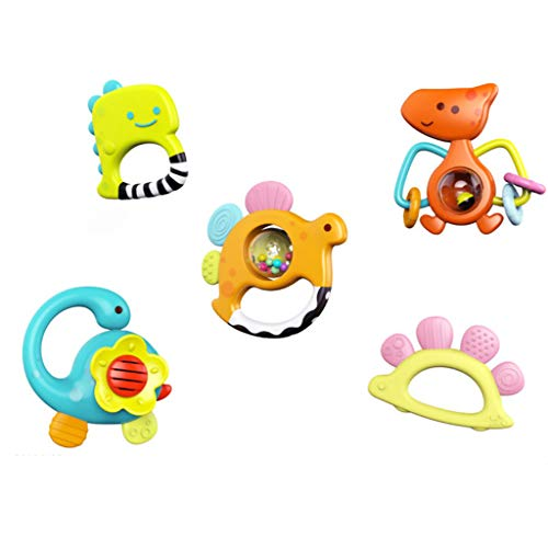 LiboboSet of 5Pcs Dinosaur Baby Rattles Teether Shaker Grab and Spin Rattle Musical Toy Sets]()