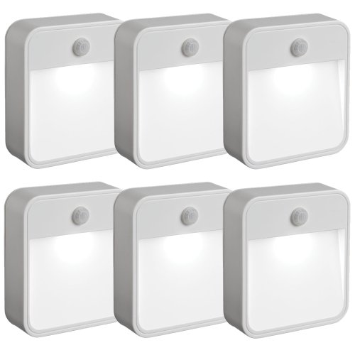 Mr Beams MB726 Stick Anywhere Battery-Powered Wireless Motion Sensor LED Night Light, White, Set of 6 (Motion Sensor Detector compare prices)