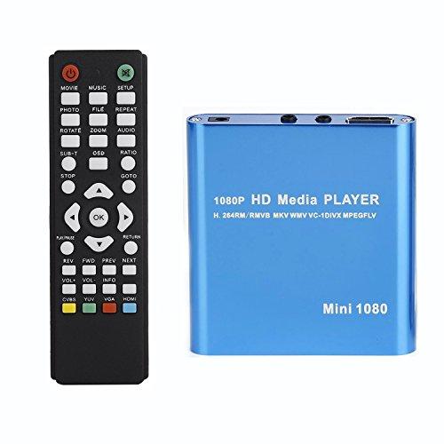Kingpeony Mini Full HD 1080P Digital Streaming Media Player for USB Drives MKV/RM-SD/USB HDD-HDMI CVBS YPbPr - Blue