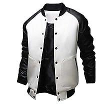 """Manhouse Men's Fashion Splicing Leather Sleeve """"Baseball"""" Varsity Bomber Jacket"""