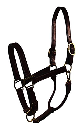Hamilton 1-Inch Adjustable Leather Deluxe Halter with Snap, Yearling Size, Fits 300 to 500-Pound, Black