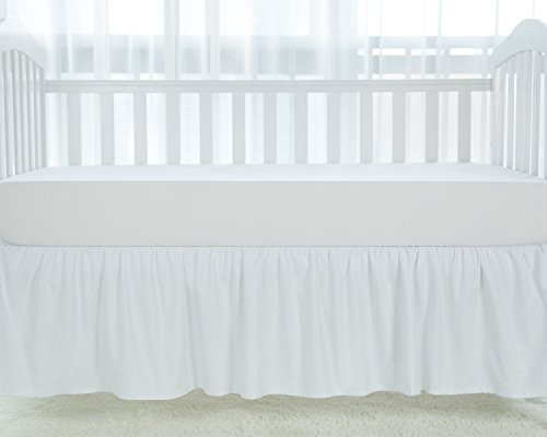 (TILLYOU White Crib Skirt Dust Ruffle, 100% Natural Cotton, Nursery Crib Toddler Bedding Skirt for Baby Boys or Girls, 14