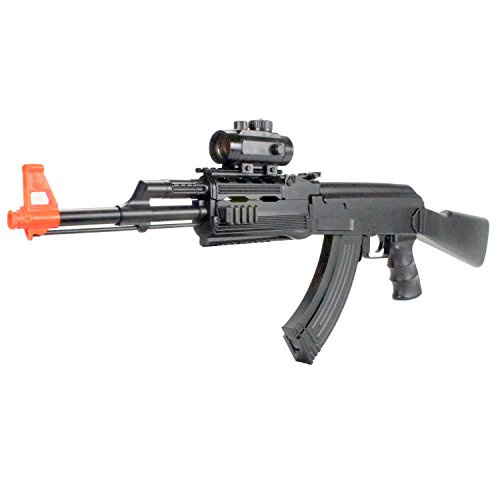 BBTac Airsoft Electric Gun BT-022 Black Fully Automatic Rifle, Great for Starter, with Semi & Safe Mode and Red Dot Scope ()