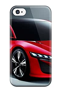 Rugged Skin Case Cover For Iphone 4/4s- Eco-friendly Packaging(two Door Red Car On Gray ) by lolosakes