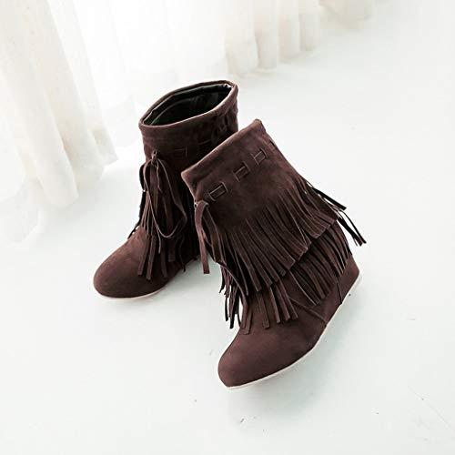 Stivali Gli scarpe Neve Allacciare Selvatici Zeppa Caldi Brown Con Freno Da Tondo Nappa Invernale Tenere Donna OY1WxgOar