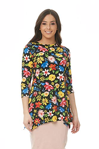 ESTEEZ Womens 3/4 Sleeve Loose Fitting Top Daisy Black Floral X-Large