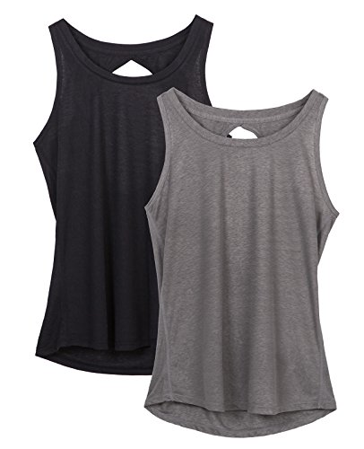 icyZone Yoga Tops Activewear Workout Clothes Open Back Fitness Racerback Tank Tops for Women (L, - Ladies Shirt Show