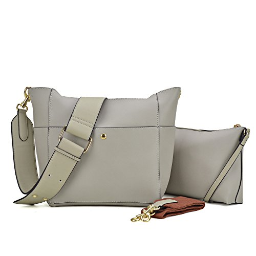 2PCS Women Handbags Soft Vegan Leather Hobo Bags Shoulder Purse Crossbody bags Totes For Women