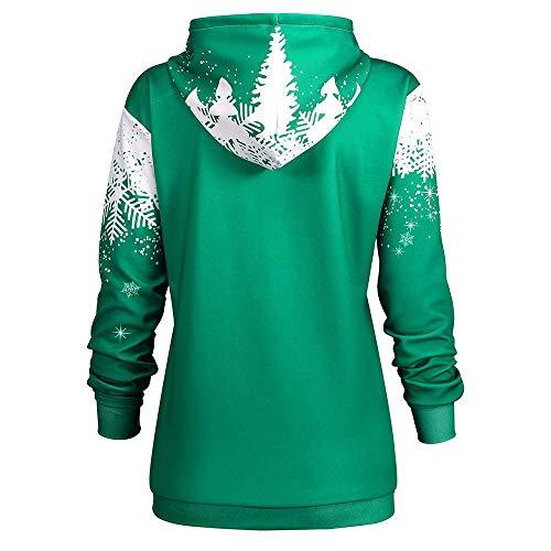 Elegante Moda Maglione Verde A Fiocco Neve Di Donna Natale Con Maniche Cappuccio Da Giovane Lunghe Felpa Stampa Camicia qBwfAZHaxx