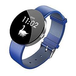 TYewa98556 Smart Teconology 1.3 Touch Screen Genuine Leather Band Smart Bracelet Pedometer Fitness Tracker - Blue