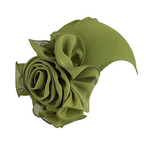 Greneral3 Women Ladies Retro Big Flowers Turban Brim Hat Pile Cap (Army Green)