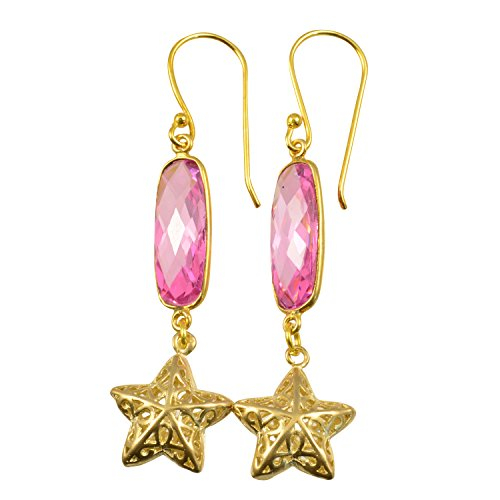Just Give Me Jewels Gold Plated Oblong Faceted Dyed Pink Cubic Zirconia with Star Dangle Earrings (Dangle Star Pink)