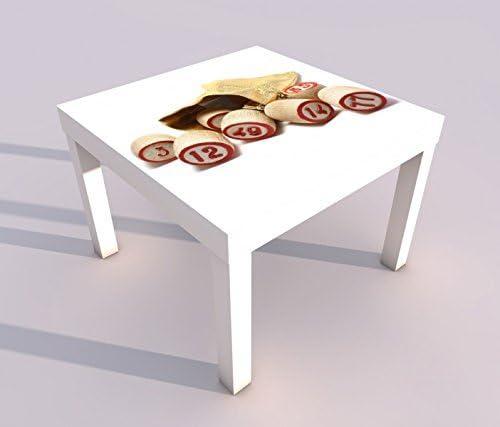 Diseño - Mesa con UV Impresión 55x55cm Bingo Saco Pagar Juego Felicidad Juegos de Azar Mesa de Juegos Laca Tablas Imágenes Dormitorio Infantil Mueble 18A031-55x55cm: Amazon.es: Hogar