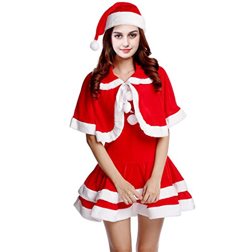 [Women's Sweet Miss Santa Suit Costume, Christmas Role Play Dress up Party Outfit] (Miss Clause Outfit)