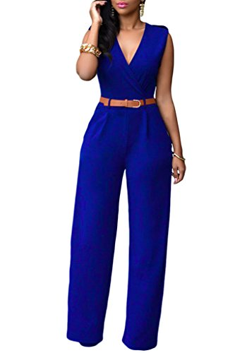 HOTAPEI Women V Neck Belted Sleeveless Wide Leg Jumpsuit Large Royal - Jumpsuit Silk Strapless