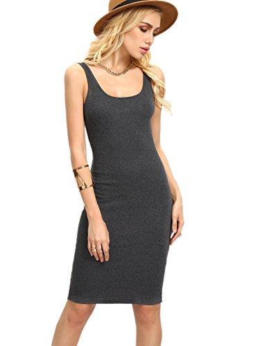 MAKEMECHIC Women's Basic Scoop Neck Bodycon Sleeveless Mini Tank Dress Grey XS