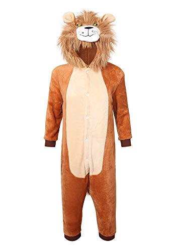 youlsun Kids Lion Halloween Costume, Deluxe Kids Onesie Pajamas for Boys&Girls (125, Lion)