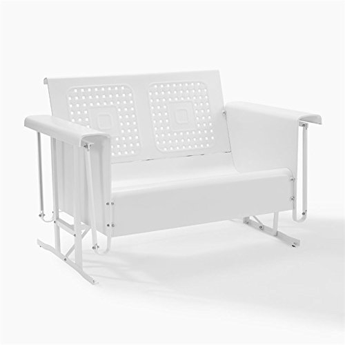 Crosley Bates Loveseat Glider in White (Outdoor Furniture Metal Glider)