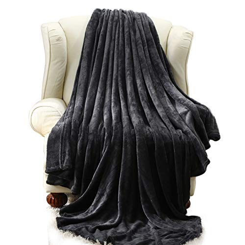 Moonen Flannel Throw and Blanket Luxurious Twin Size Dark Grey Lightweight Plush Microfiber Fleece Comfy All Season Super Soft Cozy Blanket for Bed Couch and Gift Blankets (Charcoal, W50 x L60)
