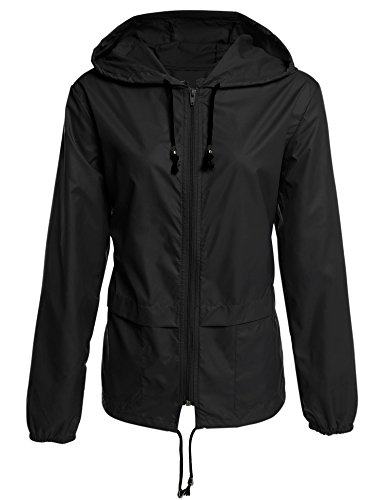 Fanala Women's Lightweight Waterproof Hoodie Raincoat Cycling Packable Jacket (US L(12), Black)