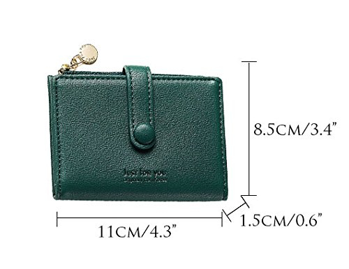 Slim Leather Wallet Credit Card Case Sleeve Card Holder Mini Purse Compact Pocket With ID Window For Cards Coin Darkgreen by Machao (Image #2)