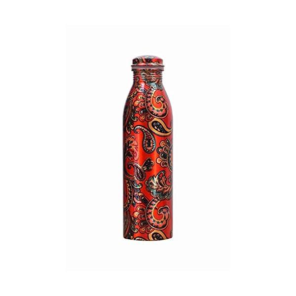 Jayson Mart 100% Pure Copper Designer Water Bottle of 1 Liter with Leak Proof Cap