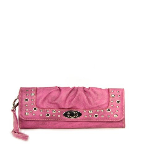 UPC 615953909203, Pink Studded Turnlock Wristlet Wallet