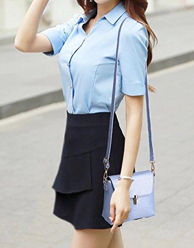 YiJee Ocio Bolso de Bandolera para Mujer con Solapa Tamano Pequeno Luz Azul