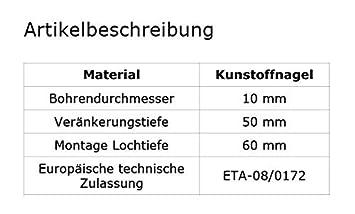DQ-PP 200 x TELLERD/ÜBEL 10 x 160mm mit Kunststoffnagel D/ämmstoffhalter D/ämmstoffd/übel D/übel Isolierd/übel WDVS Styropor Styropord/übel Thermod/übel viele Mengen erh/ältlich