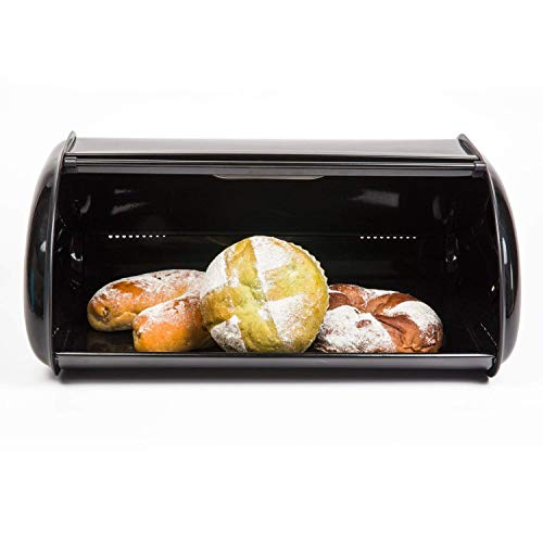 THRICH Deluxe Steel Modern Bread Box Storage with Roll up Lid, Clear Visual Window, Bright Black, 755oz (22L) by THRICH (Image #1)