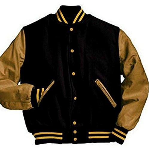 Original Windhound College Jacke schwarz mit camel Echtleder Ärmel XS