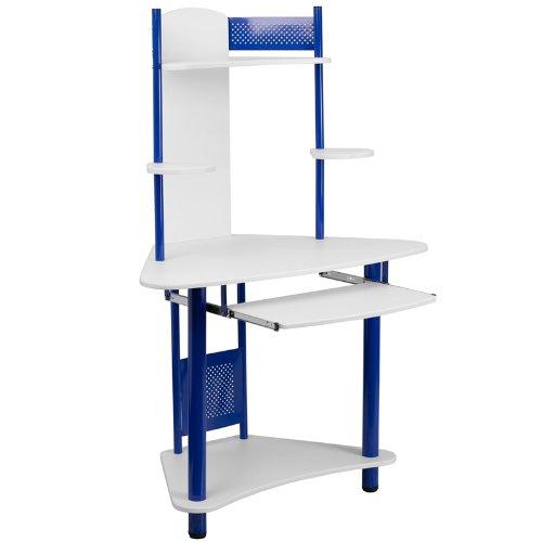 Blue Corner Computer Desk with Hutch (Computer Speaker Stands)
