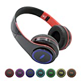 Wireless Headphones Over Ear - BT Headset Built-in Microphone & BT, 40mm Driver Unit Foldable Auto-Switch 7 Color-changing Wireless Headset for PC/Cell Phones/TV (Red)