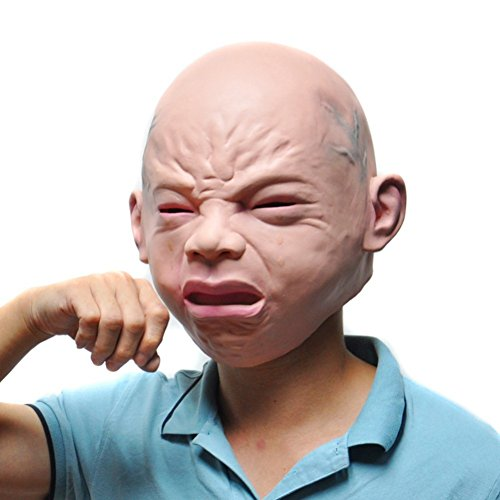 Custom Fit Halloween Masks (Hengzhi Novelty Halloween Costume Cosply Party Latex Head Mask Cry Face)