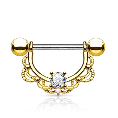 Dynamique CZ Centered Filigree Drop 14KT Gold Plated 316L Surgical Steel Nipple Ring (14ga) (14kt Filigree Ring)