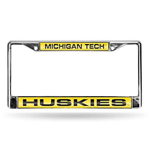 Rico Industries NCAA Michigan Tech Huskies Laser Cut Inlaid Standard Chrome License Plate Frame