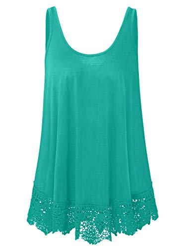 (Plus Size Swing Lace Flowy Tank Top Summer Sleeveless Summer Tunic Shirts (Teal Green, 1X))