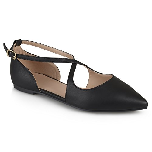 Journee Collection Womens Pointed Toe Crossover Flats Black