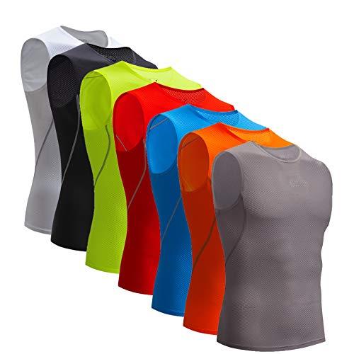 Bpbtti Men's Cycling Base Layer, Bike Biking Sleeveless Shirt – Moisture Wicking and Comfortable(X-Large - Chest 42-44',Grey)