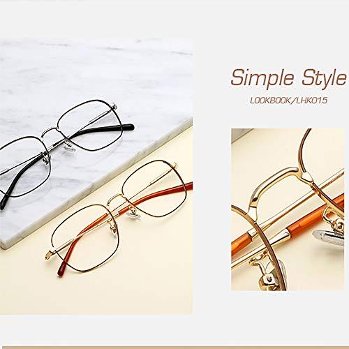Men's Blue Blocking Glasses,Anti Eyestrain Anti Glare Lens Anti Blue Ray Computer Game Glasses Women Gaming Plain Mirror,Gold by OLDF (Image #7)